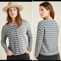 Anthropologie Nwt Women's Navy/white Striped Devin Textured Sweatshirt Small Photo