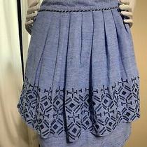 Anthropologie Odille Alpine Dreams Skirt Blue Geometric Tribal Size 4 Photo