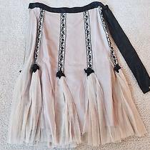 Anthropologie Odille Blush/ Black Tulle Skirt Size 4 Photo