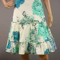 Anthropologie Odille Size 8 Blue Ivory Aqua Floral Print Ruffled Cotton Skirt Photo