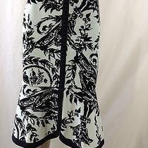 Anthropologie Odille Velvety Lt Blue & Black Tuscan Tulip Damask Print Skirt 6 Photo