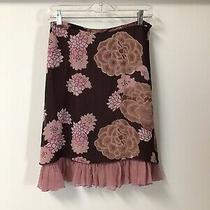 Anthropologie Odille Womens Brown and Pink Lined Silk Skirt Size 6 Photo