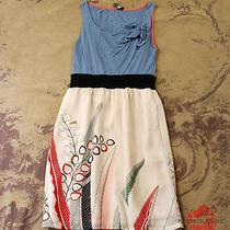 Anthropologie One September Blue Jersey Printed Tie Slip Skirt Dress P Xs 0 2  Photo