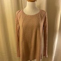 Anthropologie One September Pink Knit Sweater Lace Top Blush Boho Rose Small S Photo