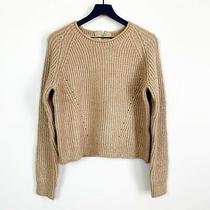 Anthropologie Pepin Women's Top Size L Cable Knit Crop Sweater Golden Yellow Nwt Photo