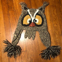 Anthropologie Peruvian Owl Tasseled Winter Tan Cream Brown Womens Knit Hat Photo