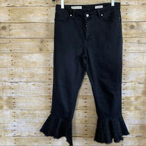 Anthropologie Pilcro and the Letterpress Black Cropped Studded Jeans Size 30 Euc Photo