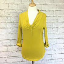 Anthropologie Pilcro and the Letterpress Cowl Neck Top Yellow Mustard Sz. M Photo