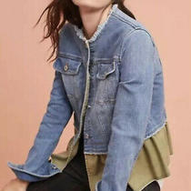 Anthropologie Pilcro and the Letterpress Denim Flounced Ruffle Jacket Size Med Photo