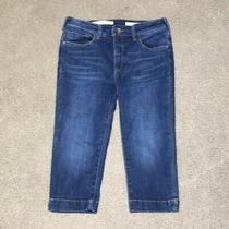 Anthropologie Pilcro High Rise Slim Bermuda Shorts Sz 28 Blue Jeans  Photo