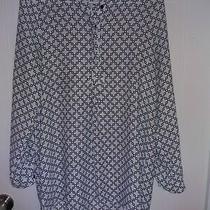 Anthropologie Pleione Black White Long Sleeve Button Blouse Top Size S Photo