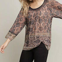 Anthropologie Plenty by Tracy Reese Dahlia Bell Sleeve Blouse Floral Boho Large Photo