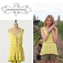 Anthropologie Plenty by Tracy Reese Size M Banded Lace-Up Tunic Top Silk Yellow Photo