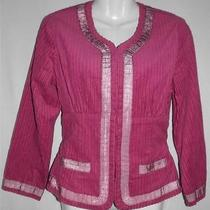 Anthropologie Plenty Name Brand Women Sz 8 M Fuchsia Pink Corduroy Blazer Jacket Photo