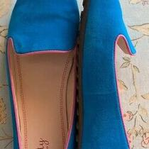 Anthropologie Plenty Tracy Reese Abby  Blue Suede Loafer Flat Pink Trim 8 Euc Photo
