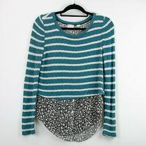 Anthropologie Postmark Small Womens Teal White Striped Shirttail Pullover Top Photo