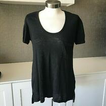 Anthropologie Pure Good Sz Small Black Linen Scoop Neck Tee T Shirt Top Burnout Photo