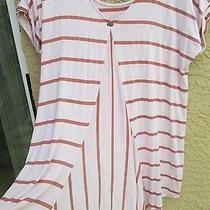 Anthropologie Pure Good Top Tunic Peach Blush Stripped 58 Size S Photo