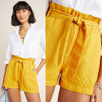 Anthropologie Rhys Textured Paperbag Shorts Yellow Size S Nwt Photo