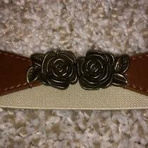 Anthropologie Rose Rosebud Cream Canvas Stretchy Hook & Eye Belt Photo