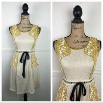 Anthropologie Ryu Cream Yellow Floral Dress Women Size Small Photo