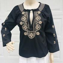 Anthropologie S Small 2 4 6 Blouse Shirt Top Black Tan Embroidered Tunic Boho Photo