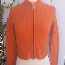 Anthropologie Sarsaparilla M  Orange Cable Knit Cropped Zip Sweater Cardigan Photo