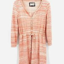 Anthropologie Saturday Sunday Sz Medium Orange White Striped Dress Long Sleeve Photo