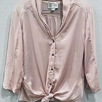Anthropologie Saturday Sunday Sz S Olivia Blush Pink Front-Tie Buttondown Top Photo