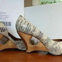 Anthropologie Schuler & Sons Snakeskin Dorsay Wooden Cutout Wedges White 7.5 B Photo