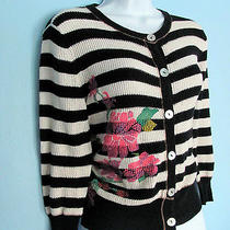 Anthropologie Scrapbook Originals Stripe Painted Roses Flower Cardigan Sweater M Photo