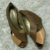 Anthropologie Seychelles Brown and Pink Open Toe Wedges Soze 8.5 Photo