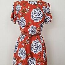 Anthropologie Shift Dress New  Size Large Orange Rust Floral Boho Girly Mini Photo