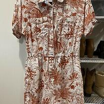 Anthropologie Shorts Linen White Coral Floral Romper Small Photo