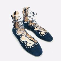 Anthropologie Silent D Utahlia Navy Suede Flats Size 37 6.5 Ankle Tie Grommets  Photo