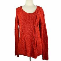 Anthropologie Size L Yellow Bird Red Nubby Textured Knit Sweater Pullover  Photo