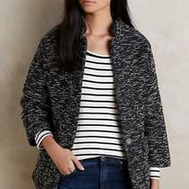 Anthropologie Size Xs Elevenses Minka Tweed Jacket Black White Knit Pockets New Photo