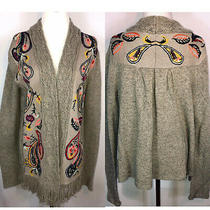 Anthropologie Sleeping on Snow Amazing Embroidered Cable Cardigan Size M  Photo