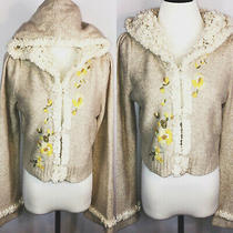 Anthropologie Sleeping on Snow Embroidered Cropped Hoodie Cardigan Size M  Photo