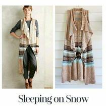 Anthropologie Sleeping on Snow Oullins Jacquard Vest Sweater M L Cream Blue Brow Photo