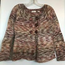 Anthropologie Sleeping on Snow Pink White Cardigan Knit Jacket Size M Photo