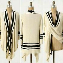 Anthropologie Sparrow Cream & Black Open Draped Front Wrap Cardigan Sweater L Photo