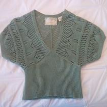 Anthropologie Sparrow Crochet Cropped Sweater S Green   Photo
