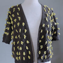 Anthropologie Sparrow Tufted Dots Gray Yellow Cotton Crop Cardigan Sweater L Photo