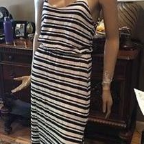 Anthropologie Splendid Blue and White Striped T Back Maxi Dress Size Medium Photo