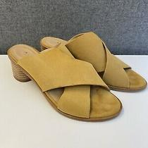 Anthropologie Suede Criss-Cross Heeled Mule Sandals - Mustard Yellow - Sz 8/38 Photo