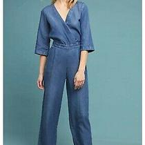 Anthropologie Surplice Chambray Jumpsuit Size 14 Denim Effect Jumpsuit  Photo