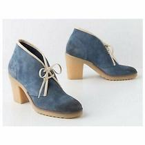 Anthropologie Sz 38 Jasper & Jeera Yuma Suede Ankle Bootie Blue Tie Up Gum Sole Photo