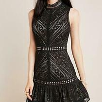 Anthropologie Sz Xs Hailee C Bella Lace Dress Black Blush Tiered Sleeveless New Photo