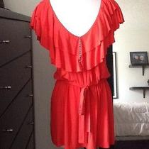 Anthropologie T-Bags Tbags Top Tunic Small Ruffle Orange Striped Detail Summer Photo